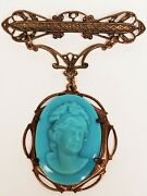 Antique Victorian Pate De Verre Turquoise Cameo Etched Bar Pin Dangle Brooch