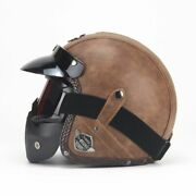 Motorcycle Helmet Open Face Leather Retro Motorbike Helm Moto With Google Mask