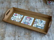 Wooden Tea Serving Tray Frida Kahlo Decor. Home Cottage Country Rustic Kitchen