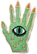 Green Hamsa Hand Evil Eye Amulet Embroidered Iron On Sew On Patch