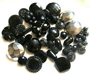 Nice Large Lot Victorian Black Glass Buttons With All Different Patterns D152