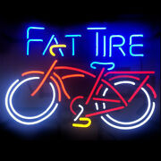 Neon Signs Gift Fat Tire Bicycle Beer Bar Pub Store Party Homeroom Decor 24x20
