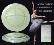 Anchor Hocking Depression Glass Cameo Ballerina Green-10.5 Grill Plate