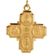 Four Way Cross Medal 30 X 29mm In 14k Yellow Or White Gold 4 Way Scapular