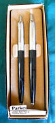 Parker Jotter Set Black Ballpoint Pen And 0.5mm Pencil Brass New In Box England