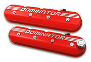 Holley 241-121 Aluminum Tall Chevy Ls Valve Covers Gloss Red Dominator Logo