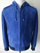 6245 Brioni Royal Blue Perforated Suede Hooded Bomber Jacket Size 52 Euro 42 Us