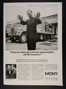 1968 Brunoand039s Food Stores Supermarket Truck Photo Mony Insurance Vintage Print Ad