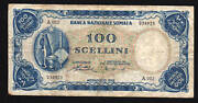 Somalia 100 Shillings P4 1962 Art Craft Leopard Rare Animal Currency Money Note