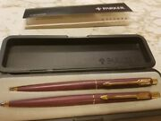 Parker Classic Set Burgundy And Gold Ballpoint Pen And 0.5mm Pencil New In Box