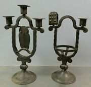 2 Antique C.1895 Goberg Germany Wrought Iron Candlesticks, Arts And Crafts, Owl