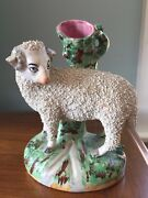 Staffordshire Sheep Antique Pottery Spill Vase Figurine 19th Cnt 7 1/4 Inch High