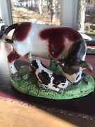 Staffordshire Pottery Bull Baiting Group Antique Early 19th Century Charming