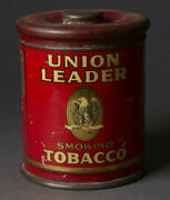 Vintage Union Leader Smoking Tobacco Tin Can Sign With Eagle Graphic