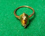Vintage Tigers Eye Ring 18k Yellow Gold Hge Gold Plate Size 8