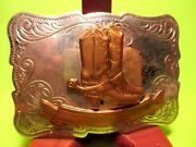 Vintage Old Buckaroo Cowboy Boots With Spurs Trophy Cowboy Buckle 1960's
