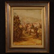 Painting Oil On Canvas Framework With Frame Signed Antique Style Landscape 900