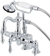 Kingston Brass Vintage Clawfoot Tub Faucet And Hand Shower, Polished Chrome New