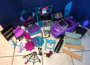 Monster High Furniture Lot 20+ Pieces Car Chairs Couches Foosball Table Etc