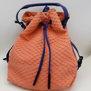 Opening Ceremony Izzy Convertible Drawstring Backpack Petal Pink Blue Embossed