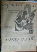 Sparton Radio Ad Face To Face From 1929 Size 15 X 22 Inches