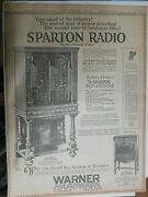 Sparton Radio Ad Years Ahead Of Industry From 1929 Size 15 X 22 Inches