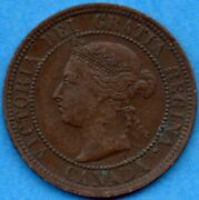 Canada 1891 Sd Ll 1 Cent One Large Cent Coin - Vf/ef
