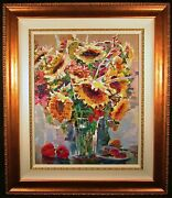 Still Life With Sunflowers On Canvas By Lau Chun Giclee With Hand Embellishment