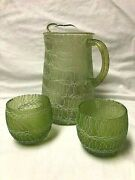 Vintage Spaghetti String Mid Century Modern Pitcher And Roly Poly Glasses - Lot 3