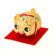 Kinbuta-chan Middle Gold Leaf Pottery Figurines Lucky Charm Made In Japan F/s