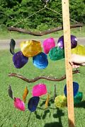 Tropical Punch Bright And Colorful Saddle Oyster Wind Chime 23 Inch G-48