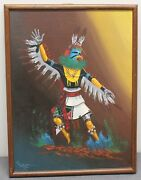 Original Native American Dancer Oil On Canvas 1918 18 X 24 Southwest Early 1900s