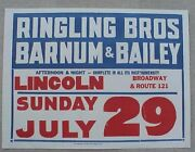 Old Ringling Bros Barnum And Bailey Circus Poster Lincoln Illinois Route 121