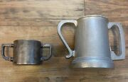 Vintage Children's Silver Plated And Adult Pewter Mugs