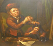Nice 19thc Antique 1800`s Oil Painting Dentist Pulling Boy Tooth Mystery Artist