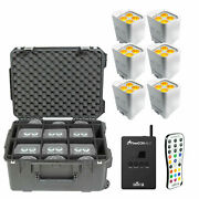 6chauvet Dj Freedom Par Quad-4 Led Pars In Wht W/ Skb Case And Flarecon Air Pkg