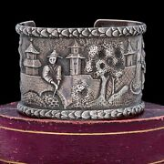 Antique Vintage Deco 925 Sterling Silver Chinese Repousse Scene Cuff Bracelet