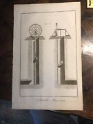 Large Antique 1751 Art Engraving Etching Masonry Tools Stone Architectur Diderot