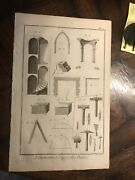 Large Antique 1751 Art Engraving Stone Masonry Architecture And Tools Diderot