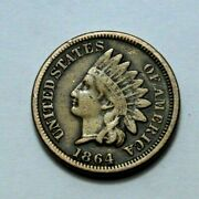 1864 Penney Rare Key Date Indian Head One Cent, Coin , 1c In Great Condition