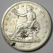 1875-cc Trade Silver Dollar T1 - Vf Details With Chop Marks - Rare Coin