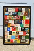 Lot Of 67 Vintage Matchbook Covers 1960s To And03970s In Wood And Glass Frame Coolness