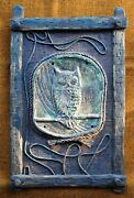 Owl Ceramic Tile Wood Rope Burlap Vintage 1960s Decor Wall Hanging Arts And Crafts