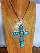 Federico Jimenez Cross Pendant Necklace - Turquoise Stones With Sterling Silver