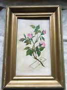 Victorian Oil Painting Roses W/ Trompe L'oeil Pinned Calling Card Artist Coy