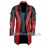 New Steampunk Goth Military Jacket Red Black Leather Christmas Trench Coat Sale