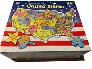 Milton Bradley Puzzle Map Of United States Pieces Cut In Shape Of States 84 Pcs.