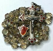 Anddagger Vintage Sterling Burnt Orange Guilloche Enamel Yellow Glass Rosary Necklace Anddagger