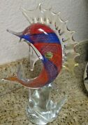 Murano Art Glass Vintage Made In Italy 11 Inch Tall Marlin Beautiful Colors