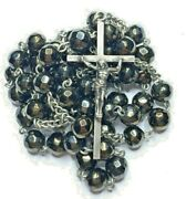 † Scarce Antique Hallmarked Copper Like Metallic Stone Sterling Rosary 28 47gr†